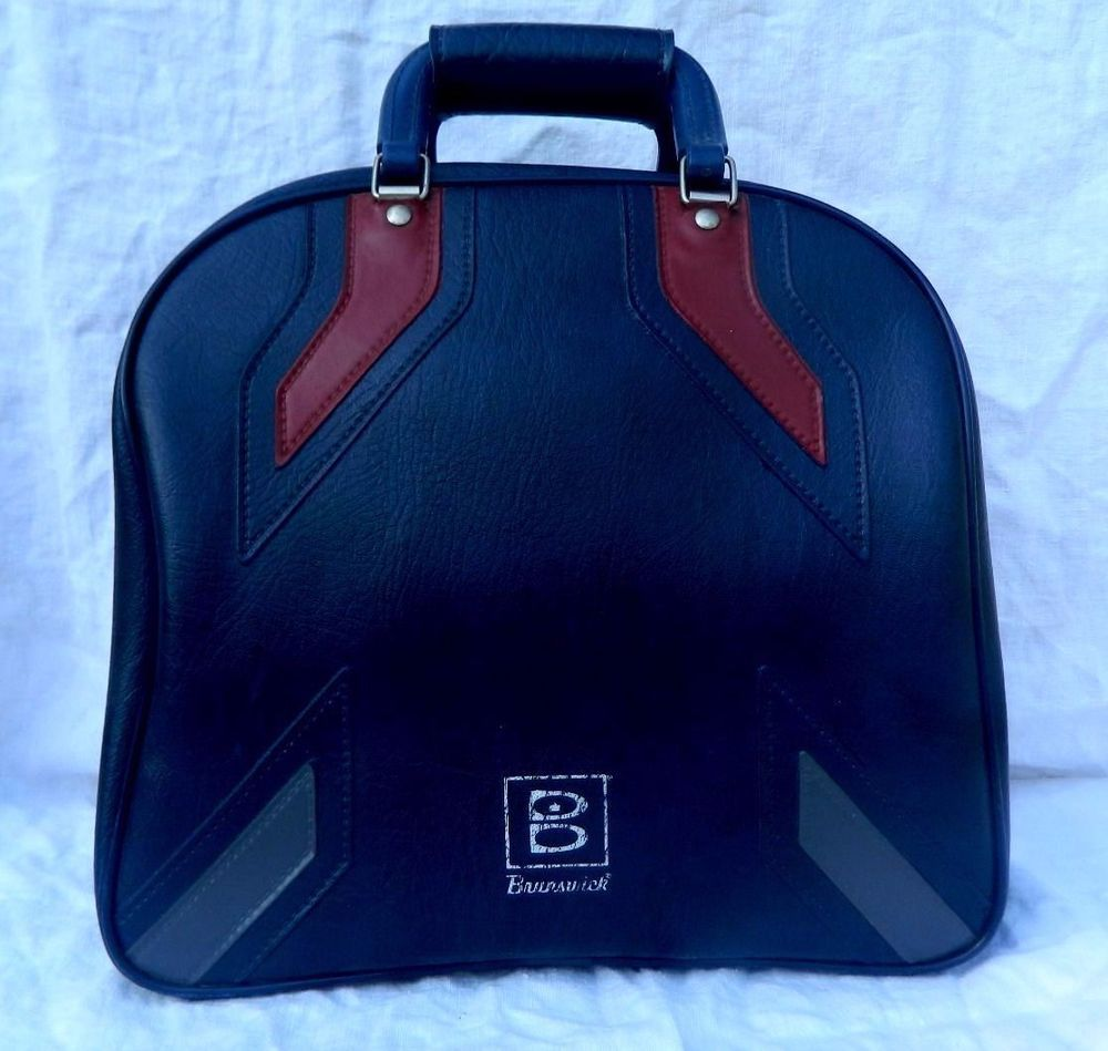 VTG Bowling Bag Purse Brunswick Metal Frame Red Gray Blue Vegan Vinyl Handbag #Brunswick #Vintage