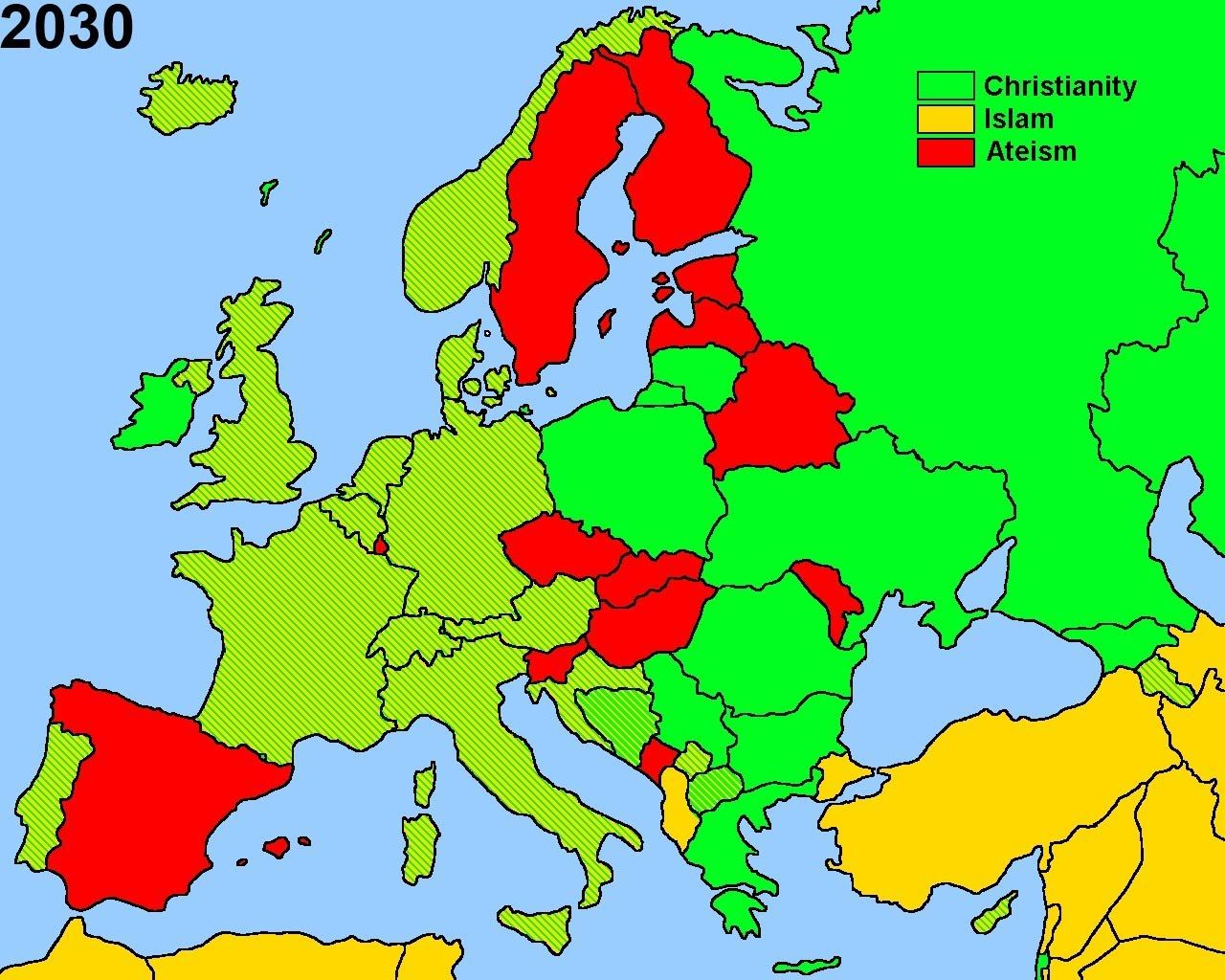 Future Religion in Europe 2050 Muslim Christianity Atheism