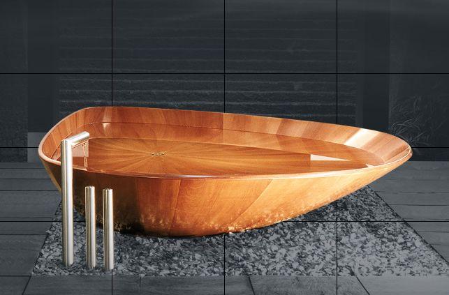 Baignoire en bois pour éco-salle de bains #Bathtub Dans notre