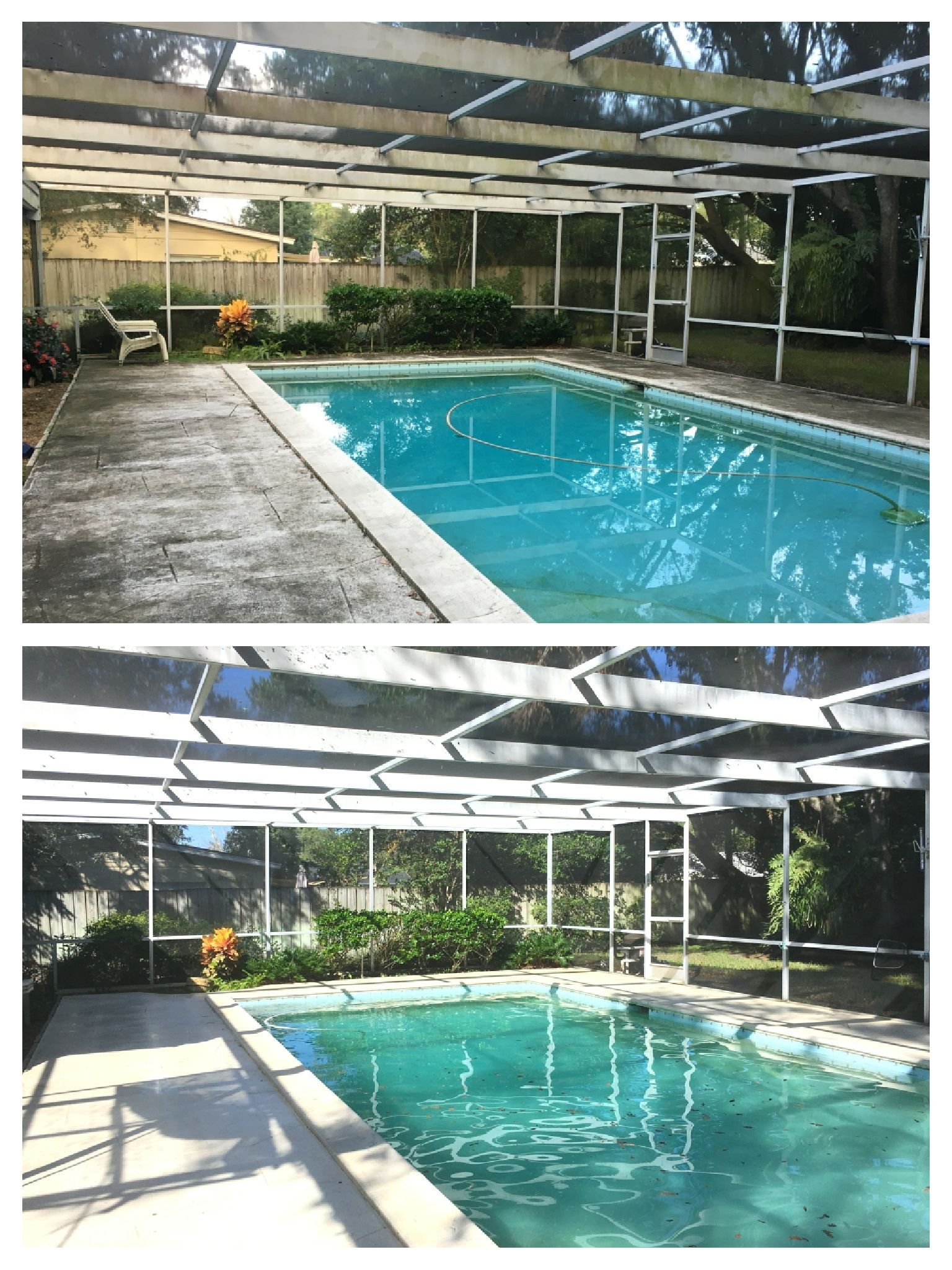 Nice Before After Of This Orlando Pool Screen Enclosure Cleaning We Can Make These Lanai Areas Look New Again Without Any Or Plant Damage