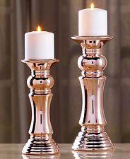 Set Of 2 Metallic Pillar Candleholders Two Elegant Rose Gold Candle
