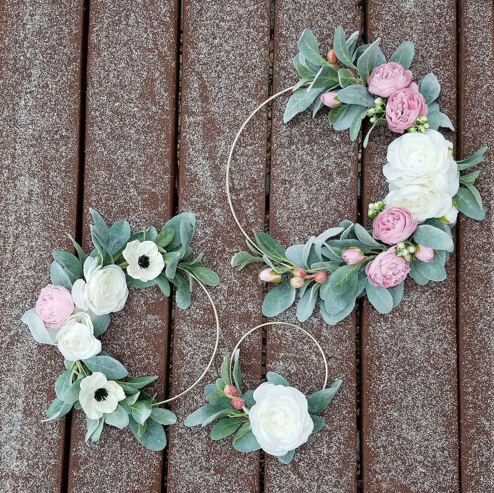 Photo of Modern Wreath Set, Blush Wreaths, Minimalist Wreaths, Nursery  Wreath Set, Floral Wreath Set, Lamb's Ear Wreaths