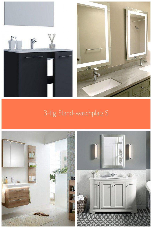 3 Tlg Stand Waschplatz Set Quot Spiegel 2 Drehtren Quot In 2020 Toilettenburstenhalter Grosse Badezimmer Badezimmer