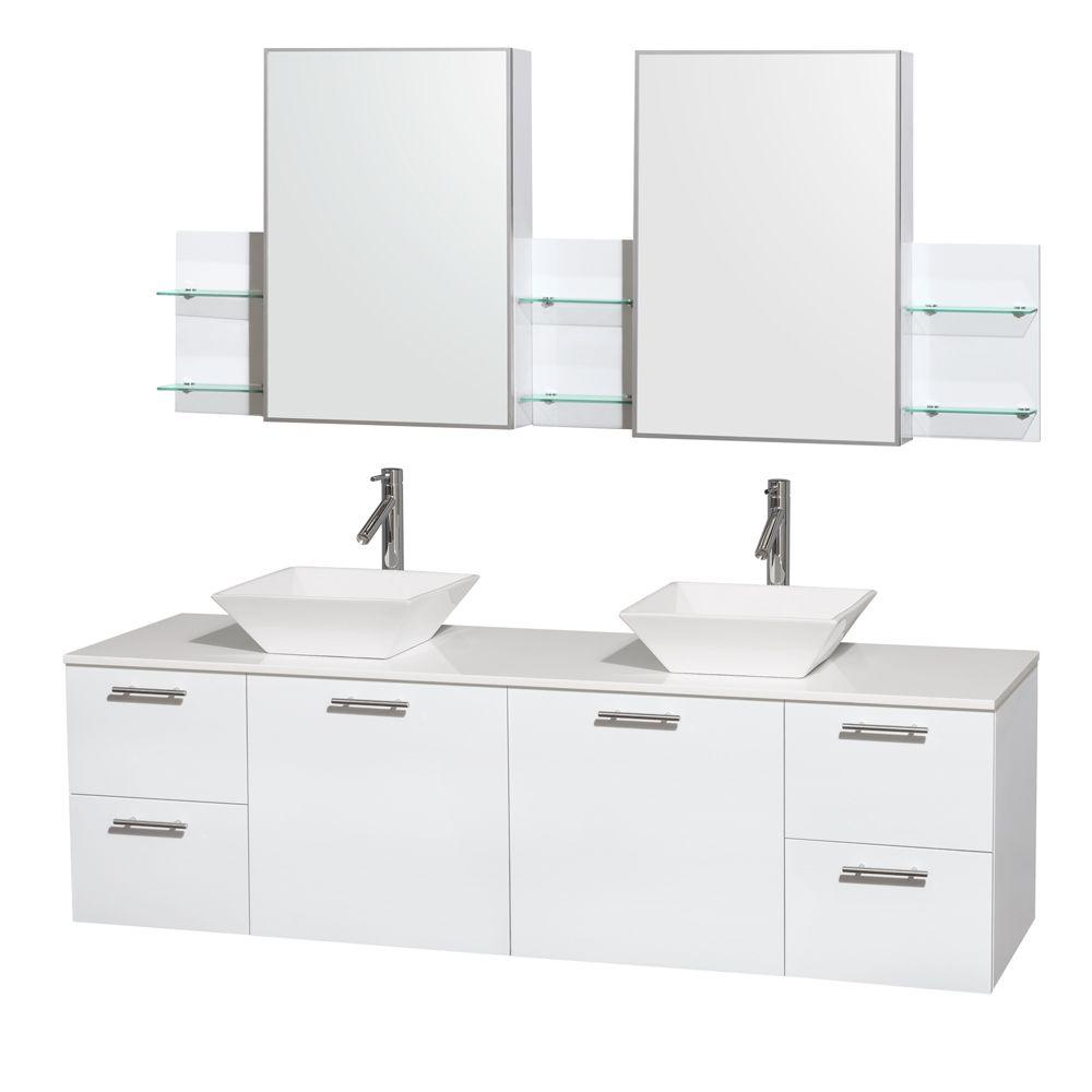 Wyndham Collection Amare 72 In Double Vanity In Glossy White With