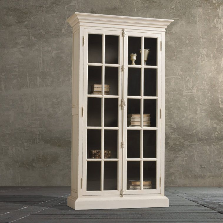 White Wooden Tall Book Cabinet With Glas Door And Five Shelf With