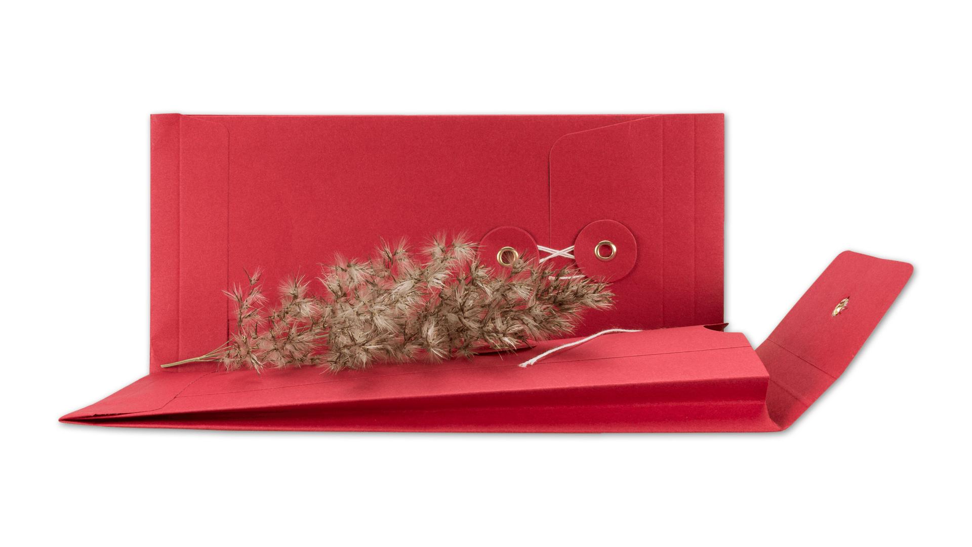 Umschlag Dl Rot 25 Mm Bindfadenverschluss Kraftpapier