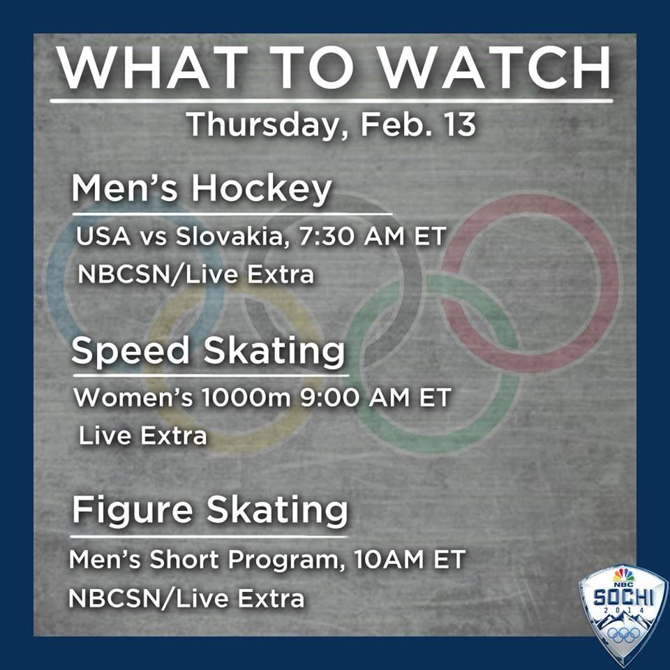 nbc sports olympic schedule for thursday february 13 | olympics