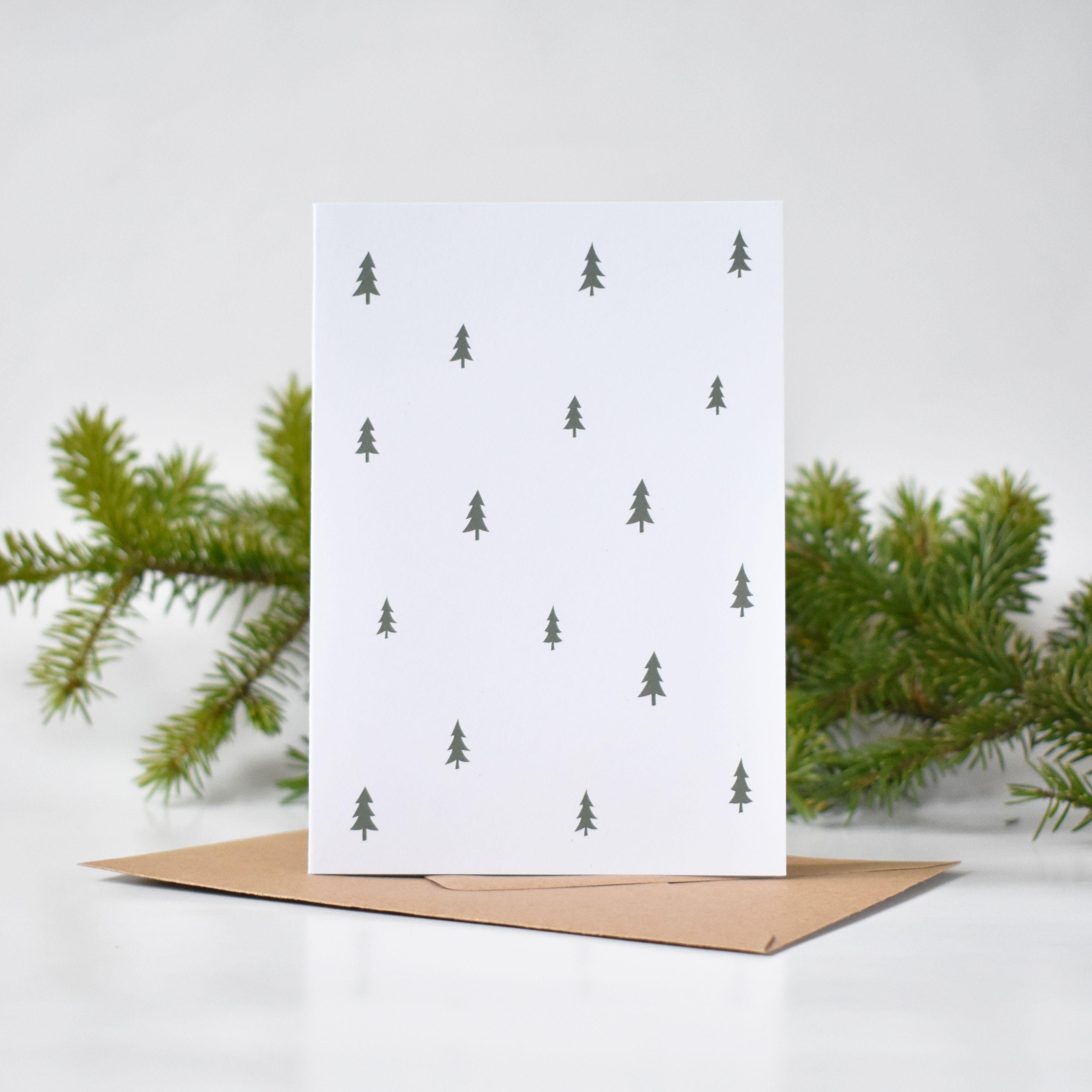 Christmas Trees Pattern Scandinavian Design Minimalist Greeting Card Christmas Card Design Christmas Cards Beautiful Christmas Cards