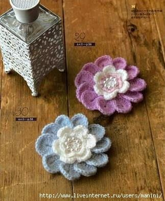 Pretty Crochet Flower Applique With Diagram Crochet Flowers And