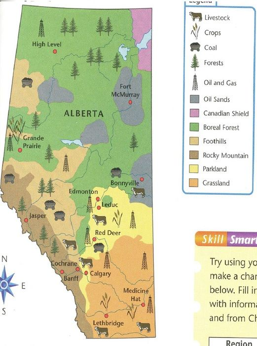 Alberta Grade 4 Social Studies 41 Natural Resources Map It: United States And Canada Natural Resources Map At Usa Maps