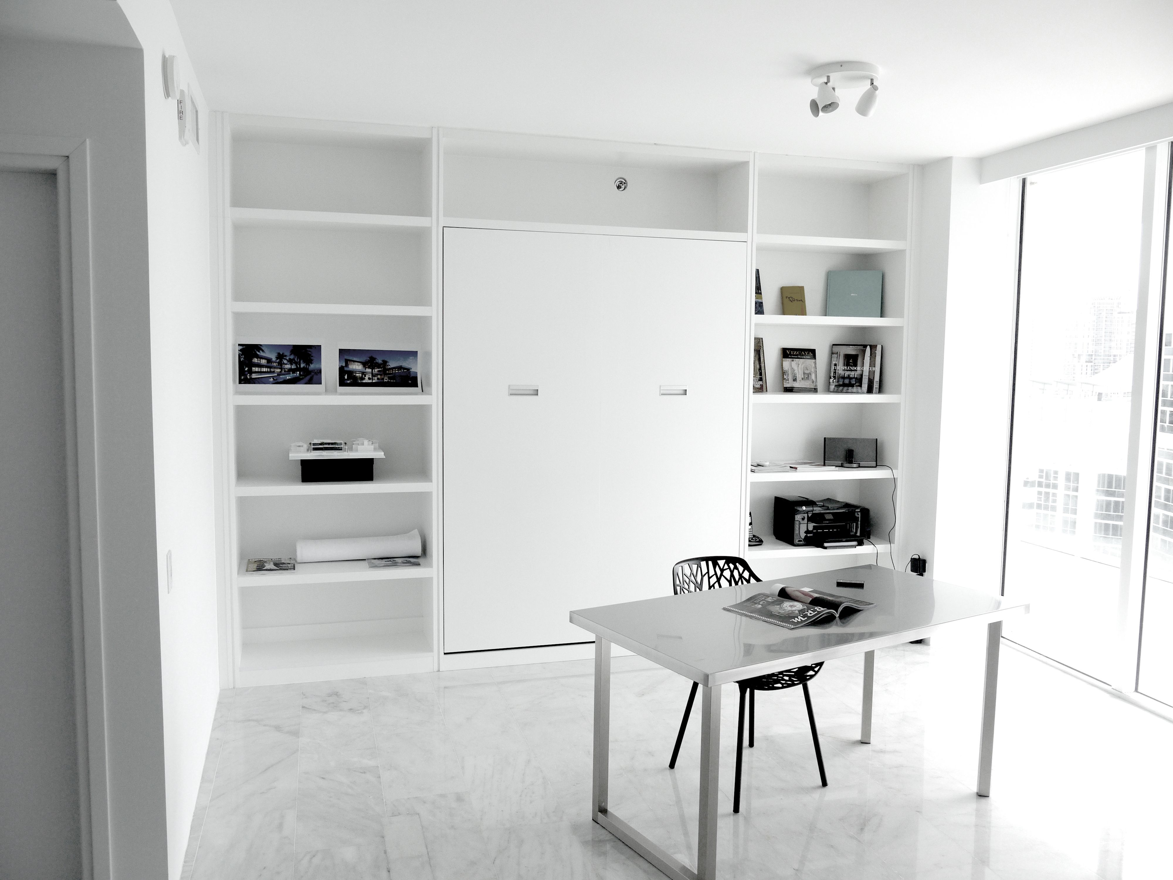 spare bedroom office ideas. Bedroom, Minimalist White Murphy Beds With Elegant Work Desk And Fascinating Rack Ideas: 30 Lovely Unique Spare Bedroom Office Ideas