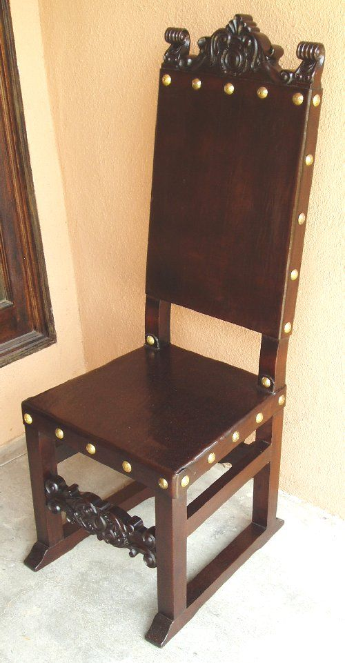 Spanish colonial. medieval furniture   leather and wood chair   Scott s Man Cave