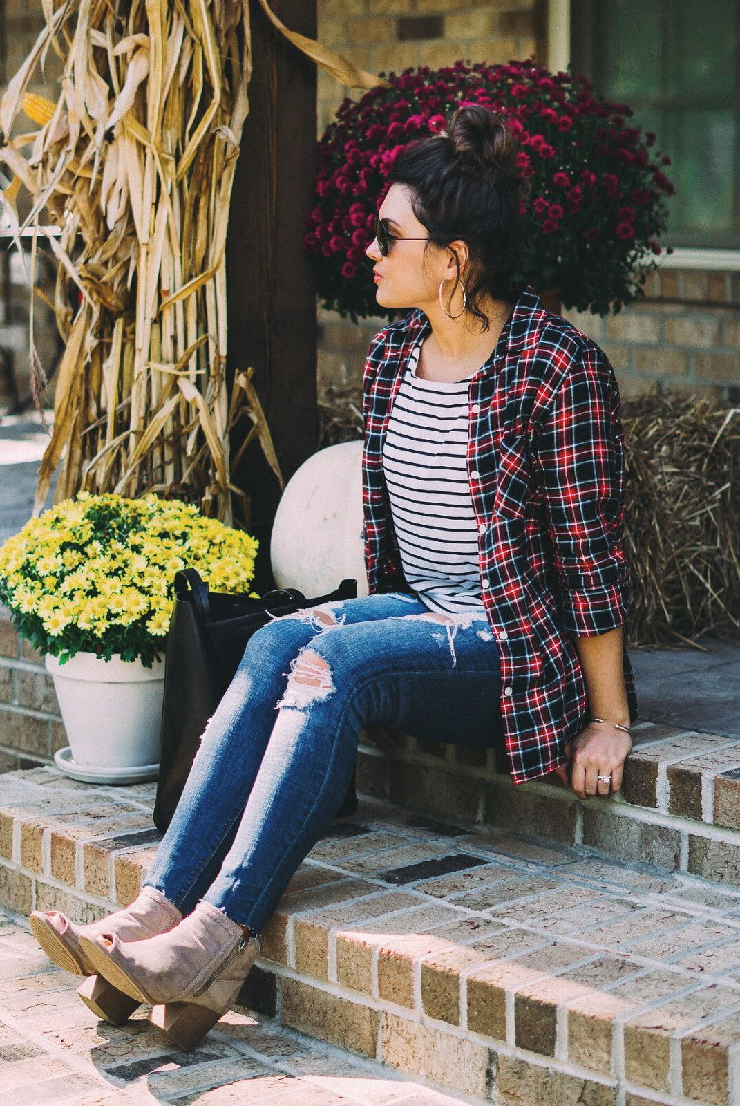 Flannel shirt outfit ideas  fall outfits black and red Plaid printed dress shirt  My Style