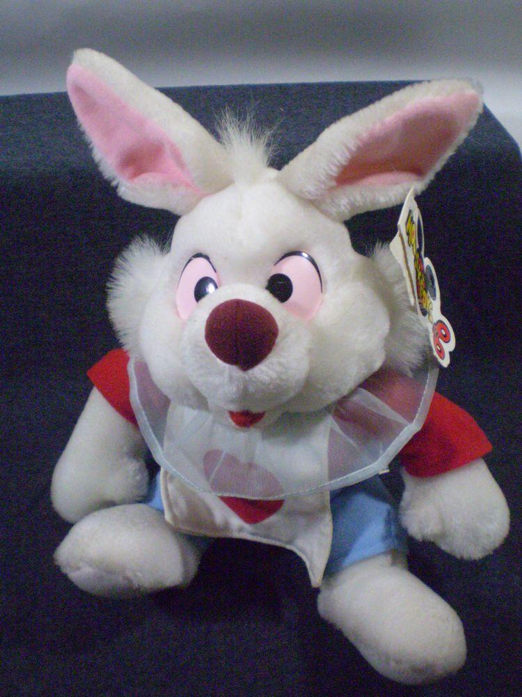Vintage Disneyland 11 White Rabbit Plush Toy Alice In Wonderland