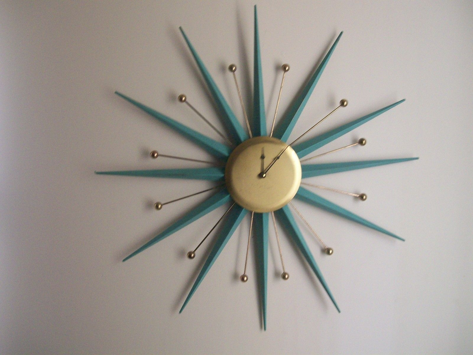 1960s Sunburst Atomic Eames Era 30 Wall Clock Wall clocks