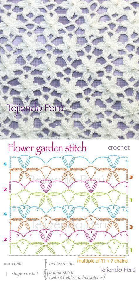 Punto jardín de flores tejido a crochet! Incluye diagrama ;)