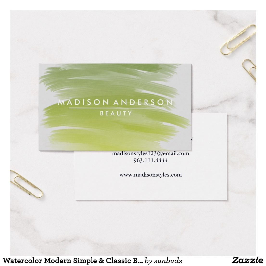 Watercolor Modern Simple & Classic Beauty Business Card