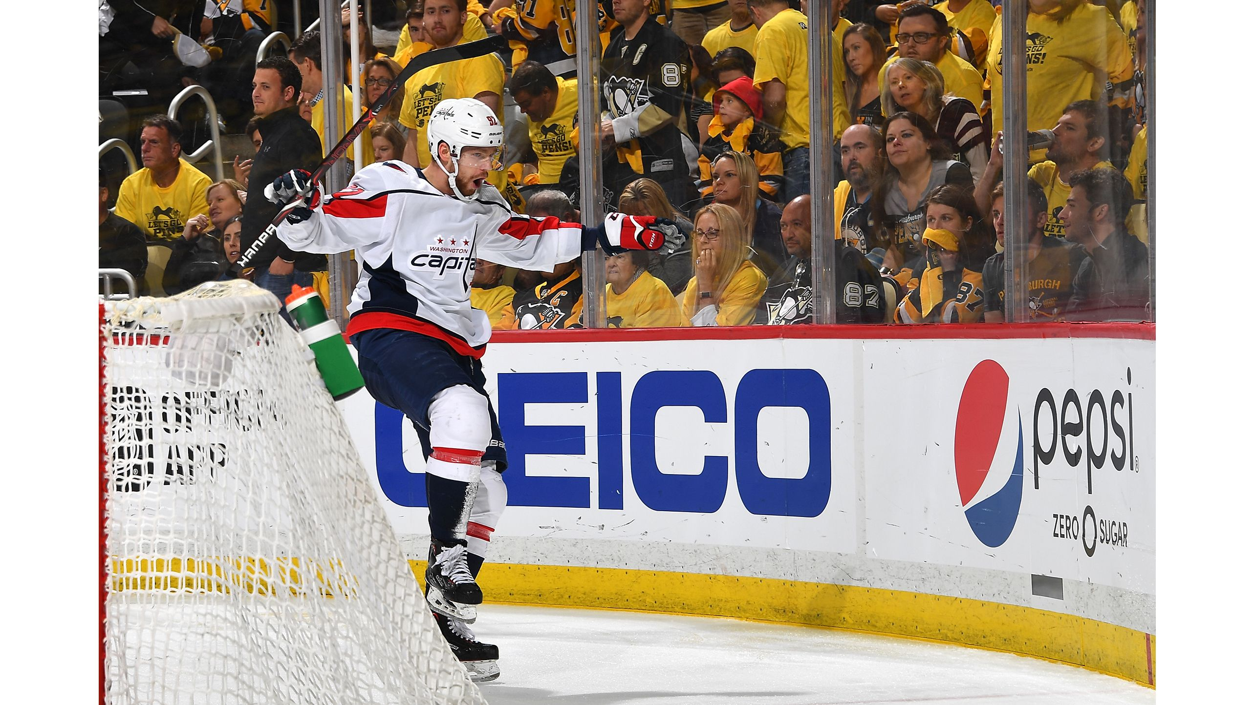 0f4d1982dfb Evgeny Kuznetsov  92 of the Washington Capitals celebrates his overtime  goal against the Pittsburgh Penguins in Game Six of the Eastern Conference  Second ...