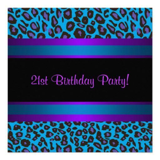 Hot Pink Teal Blue Purple Leopard 21st Birthday Invitations Blue