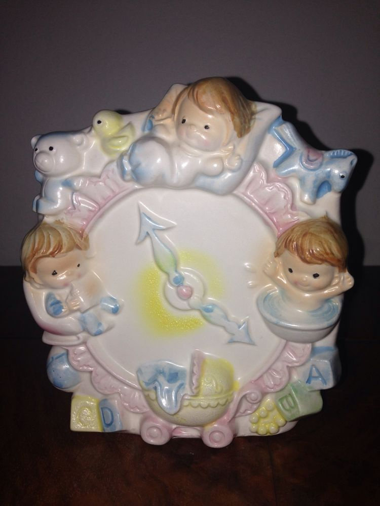 Vintage Napco Baby Vase Planter Clock Pink Blue White 9729