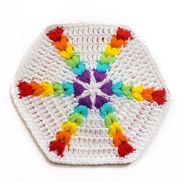 Beautiful Rainbow Puff Hexagon Its Hard To Believe This Pattern