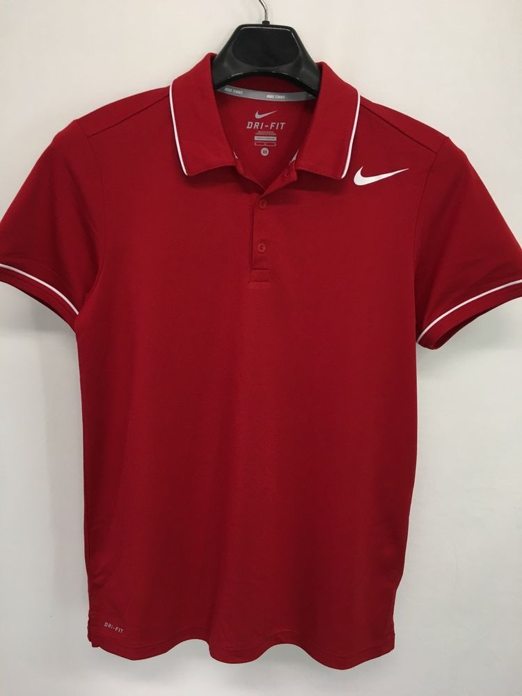 WOMENS MEDIUM SIZE 10/12 NIKE TENNIS DRI-FIT POLO SHIRT RED WHITE CASUAL