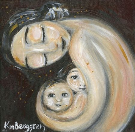 Time In - mother with two children protect print by Katie m. Berggren