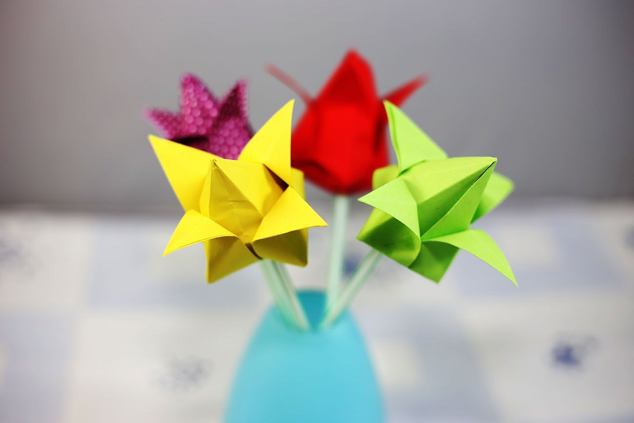 Origami how to make a paper tulip flower origami how to make a paper tulip flower jeuxipadfo Image collections