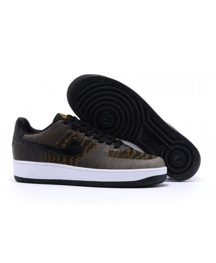 Femme Nike Air Force 1 Flyknit Faible Noir D'Or Chaussures