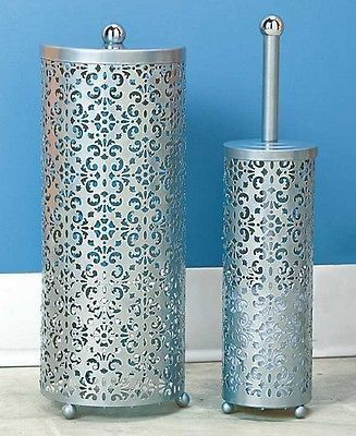 Toilet Paper Holder U0026 Brush Set Decorative Metal Scroll Silver Gray Storage