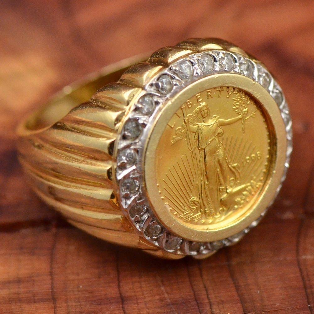14k Gold 22 3pt Diamonds 1 10 Oz Eagle Coin 18 9g Ring 11 25 Mens Mw006 Rings For Men Rings Eagle Coin