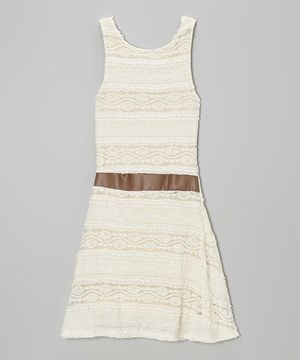 Love this Ivory Sheer-Waist Sleeveless Dress by MOA Collection on #zulily! #zulilyfinds