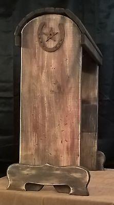 Susans Saddle Stands rustic distressed wood rack w/ rusty horseshoe spur hook