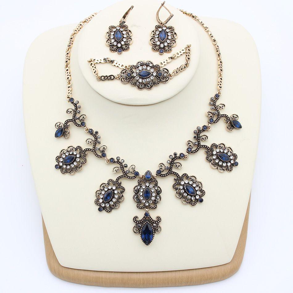 New arrived vintage turkish jewelry sets antique gold plating
