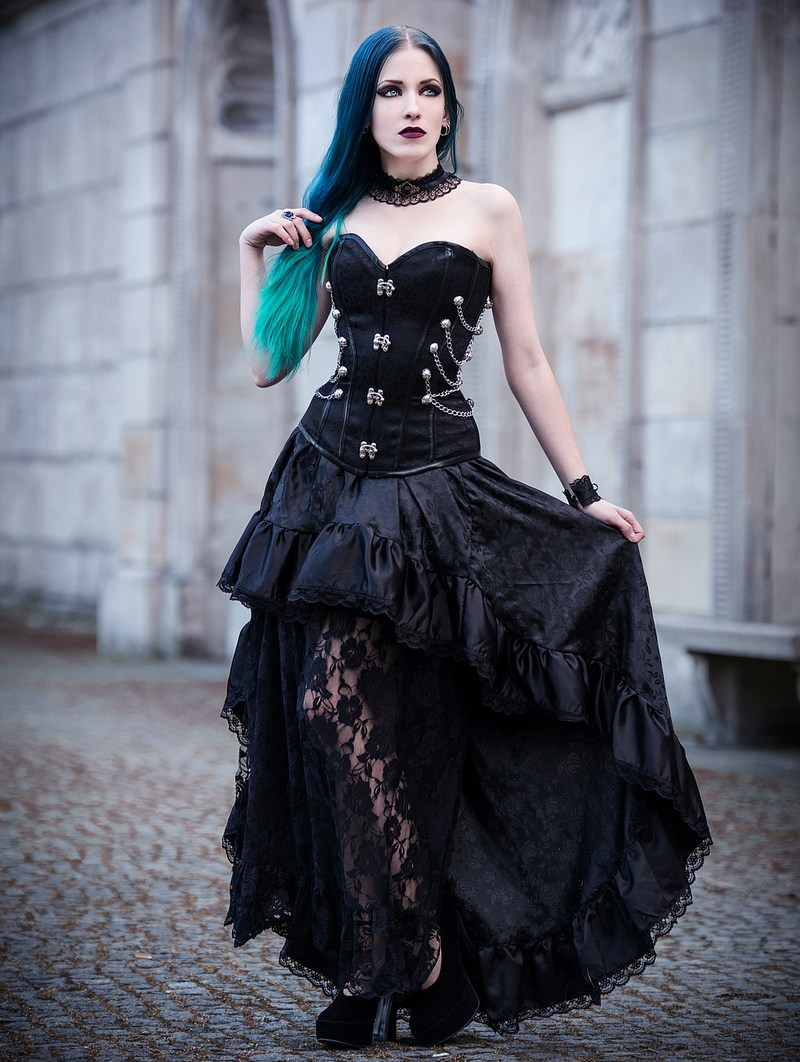 Rose Blooming Black Steampunk Lace Gothic Corset Prom Party Dress Steampunk Prom Dress Steampunk Dress Gothic Corset [ 1062 x 800 Pixel ]