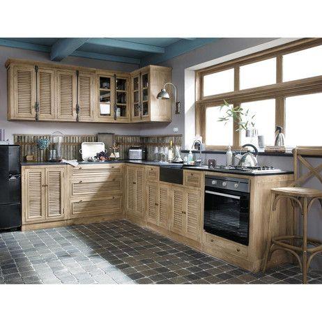 Meuble bas de cuisine en manguier l 90 cm persiennes maisons du monde dreamkitchen - Meuble cuisine maison du monde ...