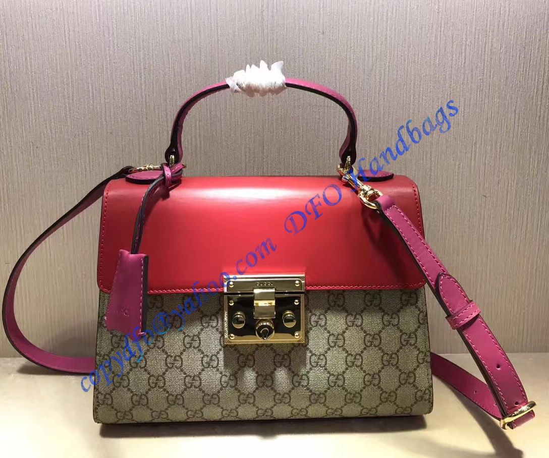 12f32ffd1dd0 Gucci Padlock GG Supreme Top Handle Bag with Red and Pink Leather in ...