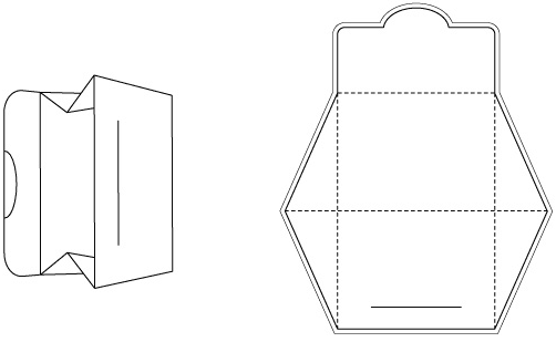 Die cutting image of Papar Ducument Bag Template No.01