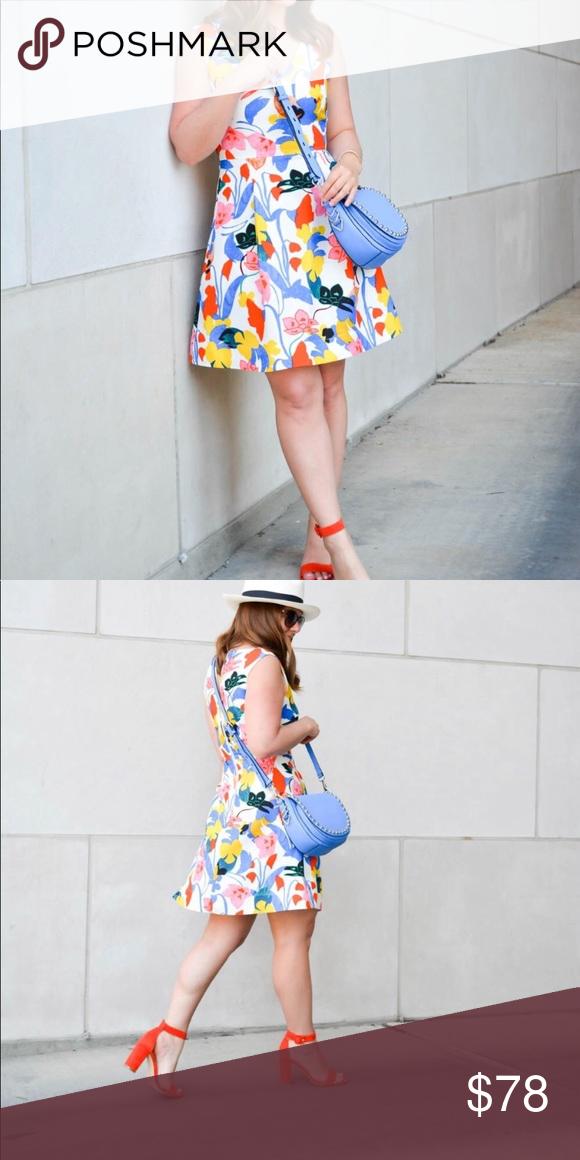 3084f545d7b J. Crew A-line Morning Floral dress Vibrant classic spring-summer dress A