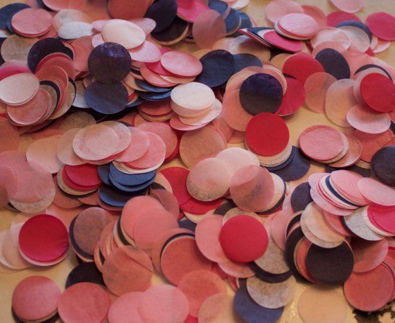 Navy and Pink Tissue Confetti 34 Circles