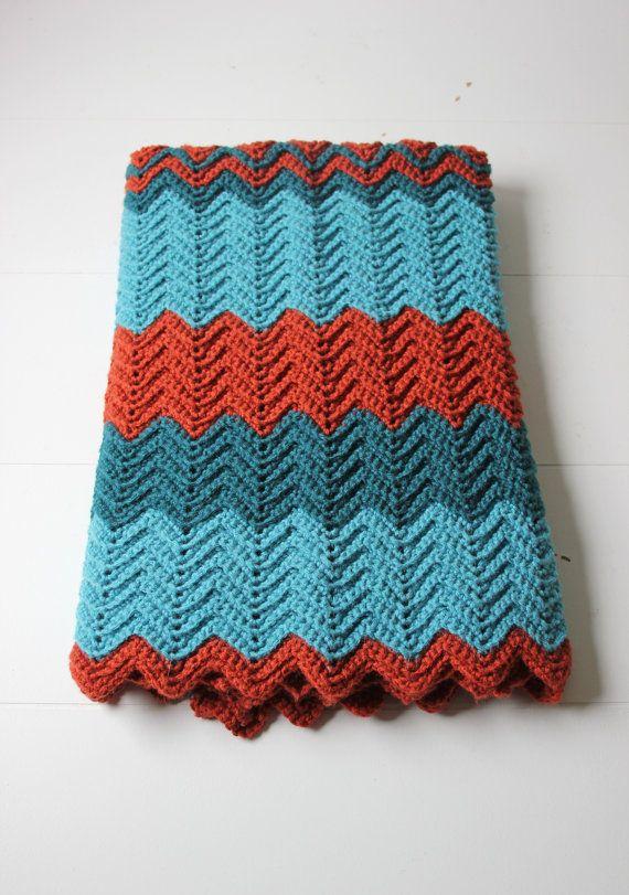 teal and rust crochet lap blanket afghan chevron pattern via Etsy ...