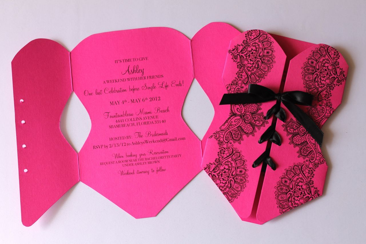 Embellished Paperie: Corset Lingerie Invitation in Hot Pink ...