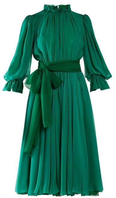 Dolce & Gabbana - Ruffle Trimmed Chiffon Midi Dress - Womens - Green