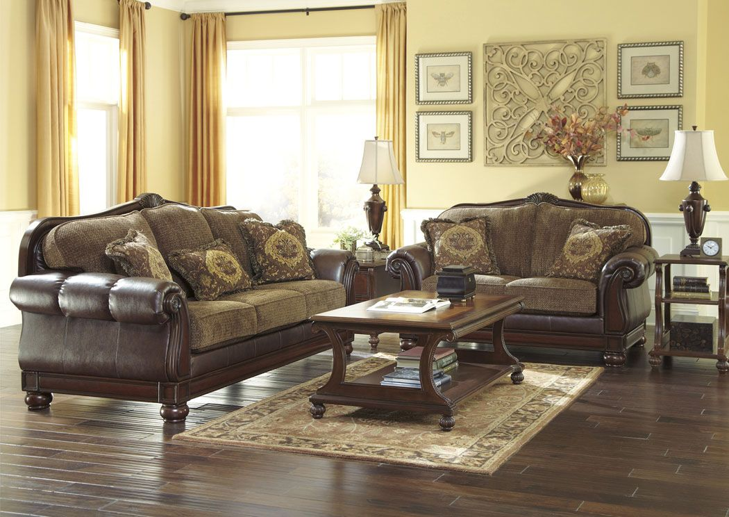 Beamerton Heights Chestnut Sofa Amp Loveseat Sale Price
