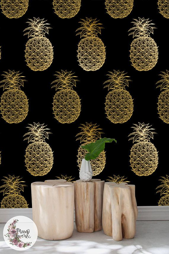 Luxurious Pineapple removable wallpaper, Watercolor wall mural, floral wall decor, Peel and stick, Reusable, Removable MAF014