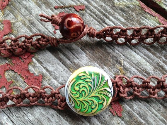Color Changing Mood Fern Bead Organic Brown Hemp by TheSunLab, $14.50