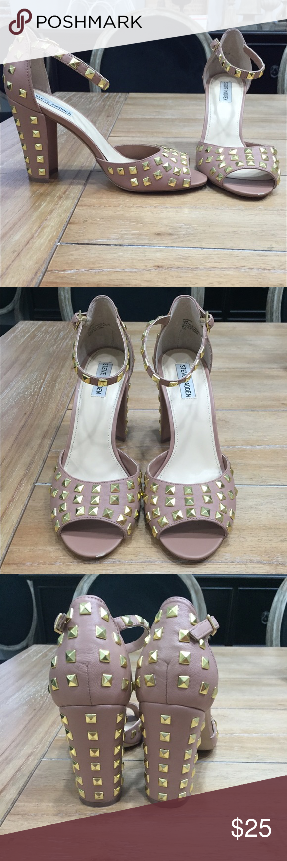 Steve Madden Studded Heels Steve Madden Blush Studded Heels, small scuff on the front of one but they have only born worn once! They are in great condition!! All prices are negotiable but please use the OFFER button in order to make me a different offer. I will do bundles just let me know what you are interested in but NO trades  Steve Madden Shoes Heels