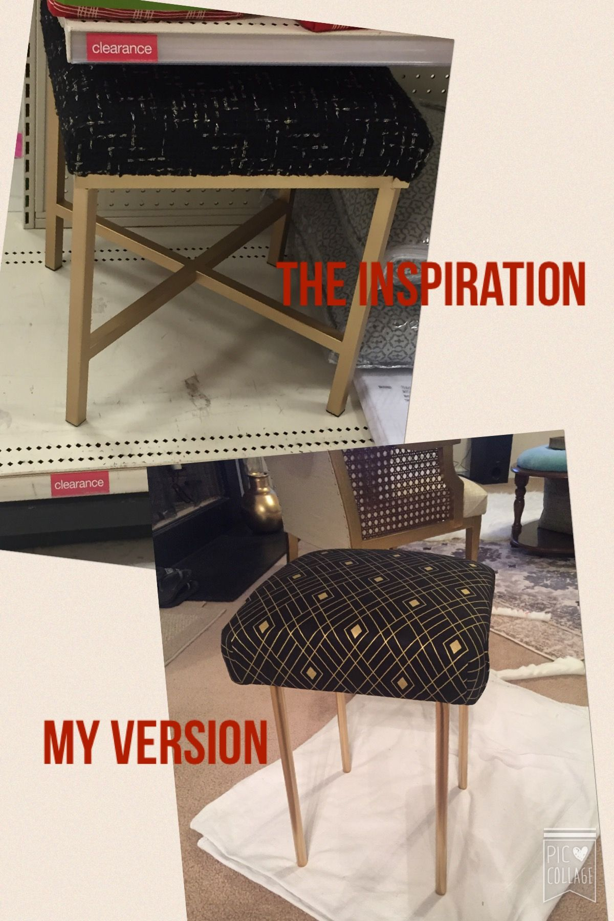 Vanity Stool Diy Stool: Vanity Stool DIY. IKEA Marius Stool Turned Black And Gold