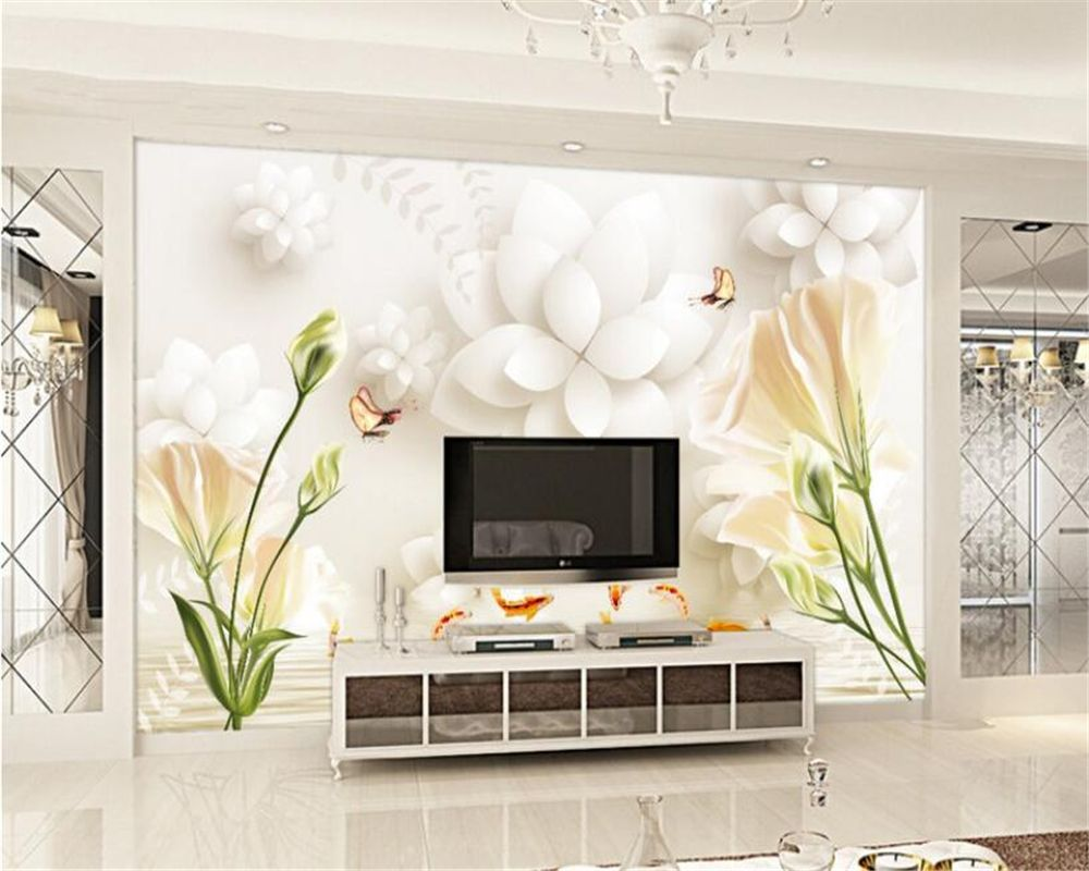 Beibehang 3D Wallpaper Stereo Fancy Lily Tulip 3D TV Backdrop Living ...