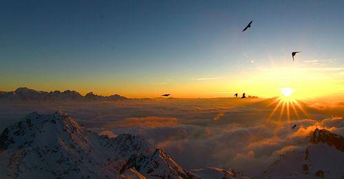 An Alpine sunset.Canton of Valais,Switzerland.
